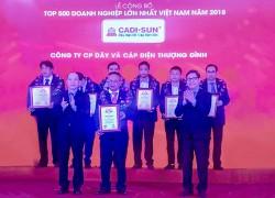 CADI-SUN tăng 68 bậc trong Top 500 doanh nghiệp lớn nhất VN