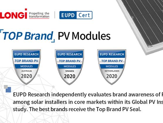 LONGi nhận giải thưởng 'Top Brand PV 2020' của EuPD Research