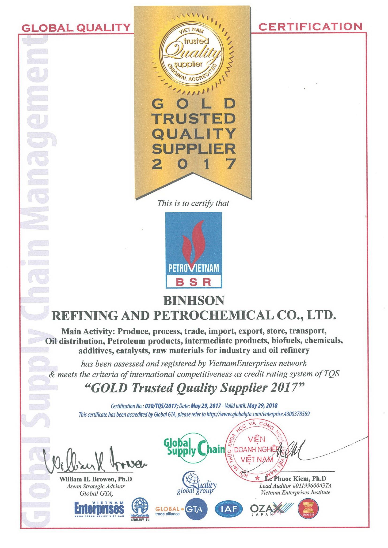 """BSR đạt chứng nhận """"Nhà cung cấp Chất lượng Vàng"""" 1"""