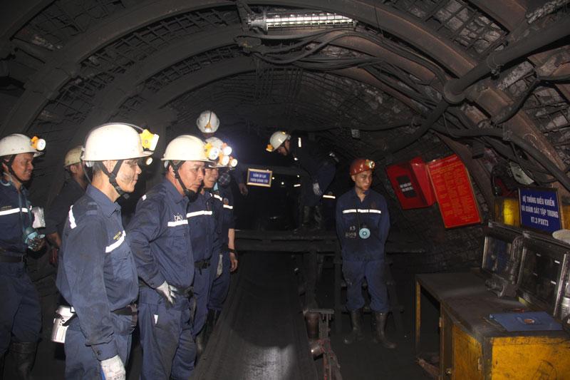 Chủ tịch TKV kiểm tra sản xuất hầm lò tại than Quang Hanh