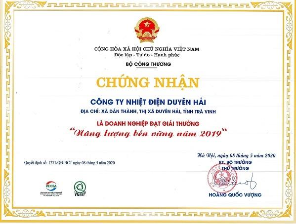 Công ty Nhiệt điện Duyên Hải nhận Giải thưởng Năng lượng bền vững 2019