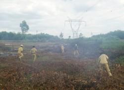 TTĐ Quảng Trị dập tắt đám cháy ngoài hành lang đường dây 500kV
