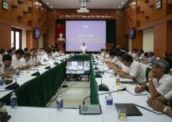 Ông Đặng Thanh Hải tại hội nghị trực tuyến đầu tiên trên cương vị mới