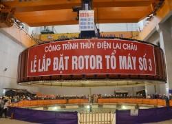Lắp đặt thành công rotor tổ máy 3 thủy điện Lai Châu