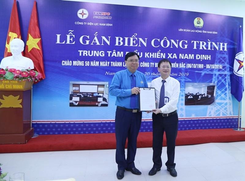 PC Nam Định gắn biển công trình Trung tâm điều khiển xa