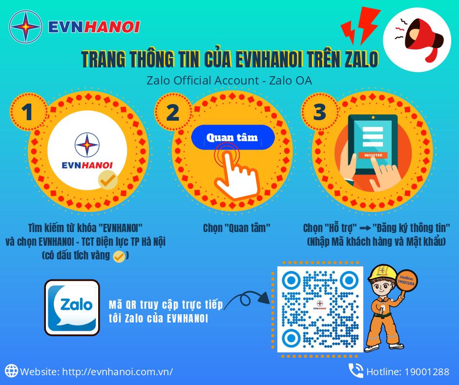 'Trang EVNHANOI trên Zalo': Thuận lợi tối đa cho khách hàng sử dụng điện