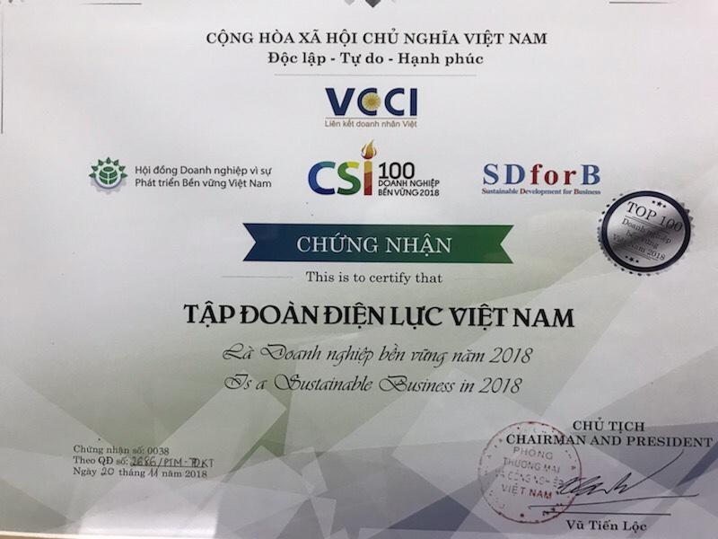 """EVN trong Top 100 """"Doanh nghiệp bền vững 2018"""" 1"""