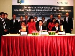 Siemens gia hạn hợp đồng dịch vụ bảo trì cho Nhà máy điện Phú Mỹ 3