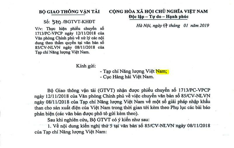 Bộ GTVT đồng ý với kiến nghị của Tạp chí NLVN về nhập khẩu than cho điện