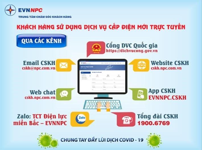 EVNNPC khuyến nghị khách hàng sử dụng dịch vụ cấp điện mới trực tuyến