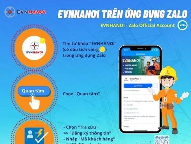 Nhiều tiện ích khi sử dụng trang 'EVNHANOI' trên ứng dụng Zalo