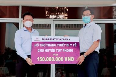 EVNGENCO 3 tặng thiết bị y tế phòng dịch Covid-19 cho huyện Tuy Phong