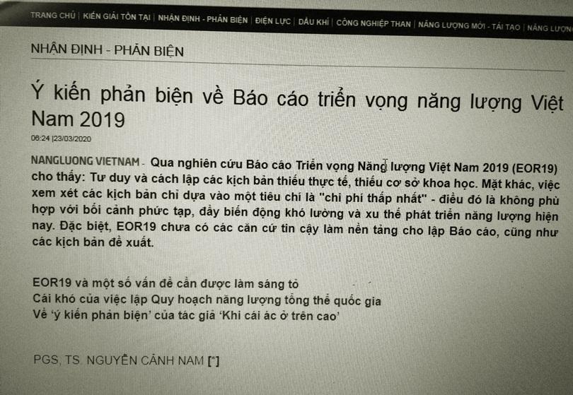 Phản hồi phản biện EOR19 trên Tạp chí Năng lượng Việt Nam