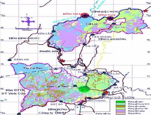 Bản đồ thủy điện Đồng Nai 6 và 6A