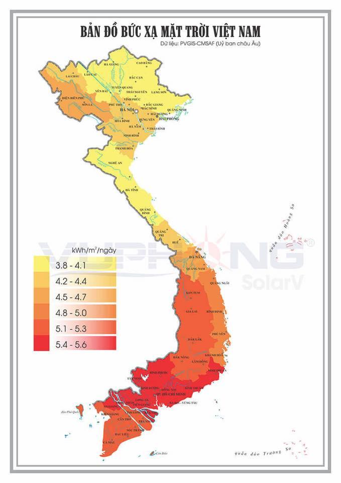 Bản đồ bức xạ mặt trời tại Việt Nam