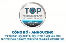 Kết quả bình chọn TOP thương hiệu thiết bị điện uy tín ở Việt Nam năm 2020